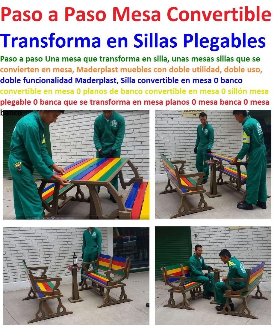 17 mesa y sillas mobiliario para exteriores pl sticos for Silla que se convierte en mesa